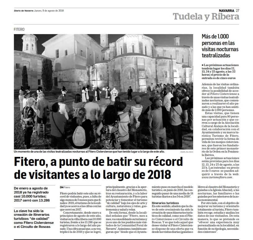 Fitero, a punto de batir su récord de visitantes a lo largo de 2018