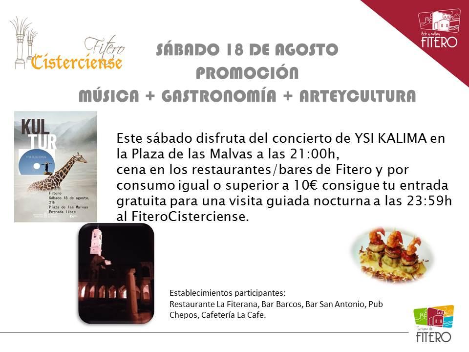 Promoción Música + Gastronomía + ArteyCultura, Fitero 18 de agosto