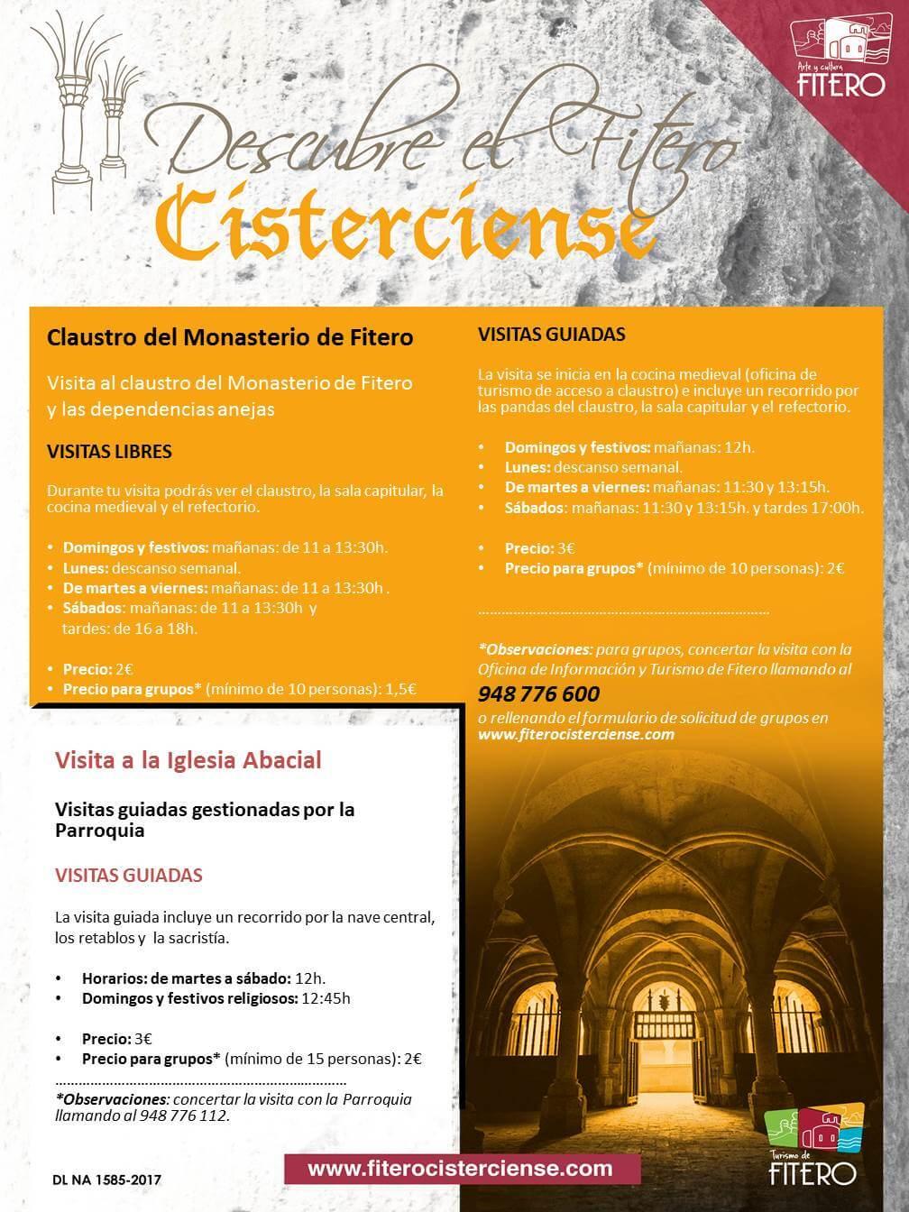 Horario de visitas libres y guiadas al Monasterio de Fitero desde el 8 de enero 2019 hasta finales de febrero 2019