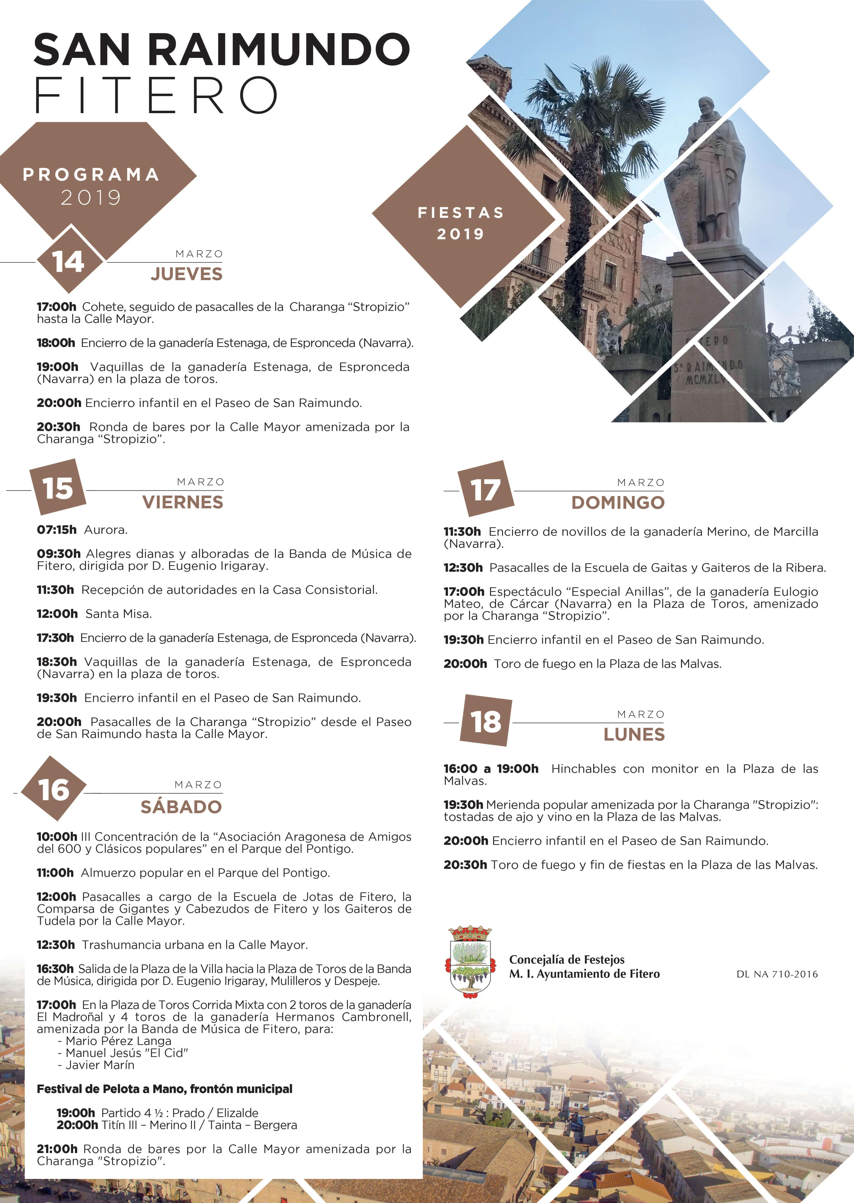 Fiestas patronales en honor a San Raimundo de Fitero, 14 a 18 marzo 2019