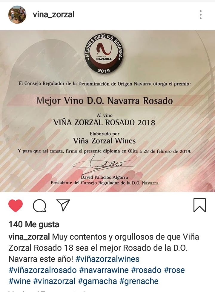 Viña Zorzal Rosado 2018 elegido el mejor vino rosado de D.O. Navarra