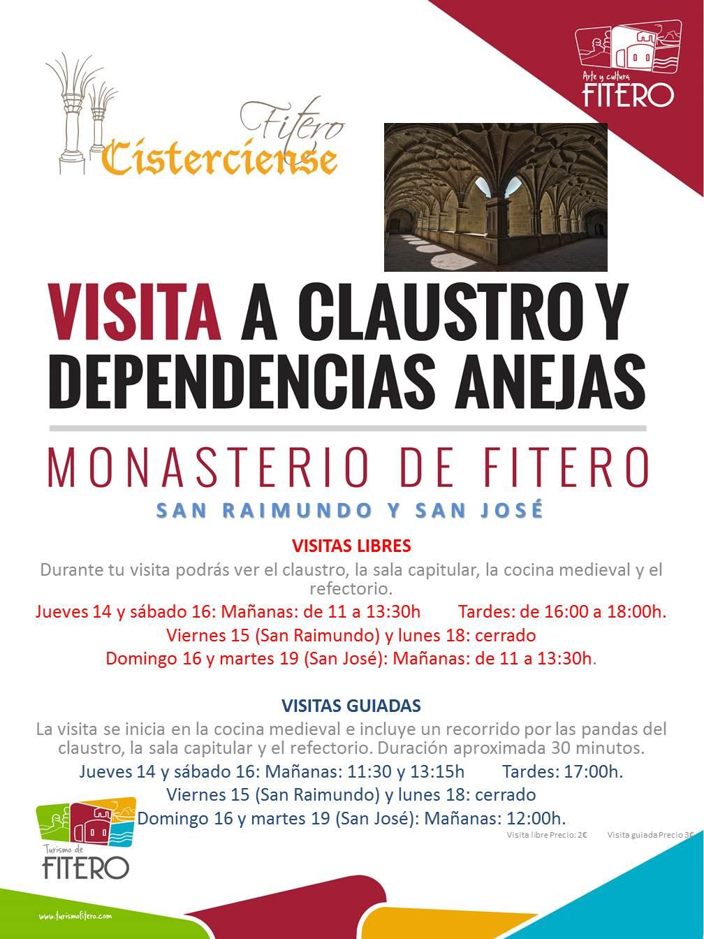 Horario especial de visitas libres y guiadas desde el 14 hasta el 19 de marzo 2019 (festividades de San Raimundo y San José)
