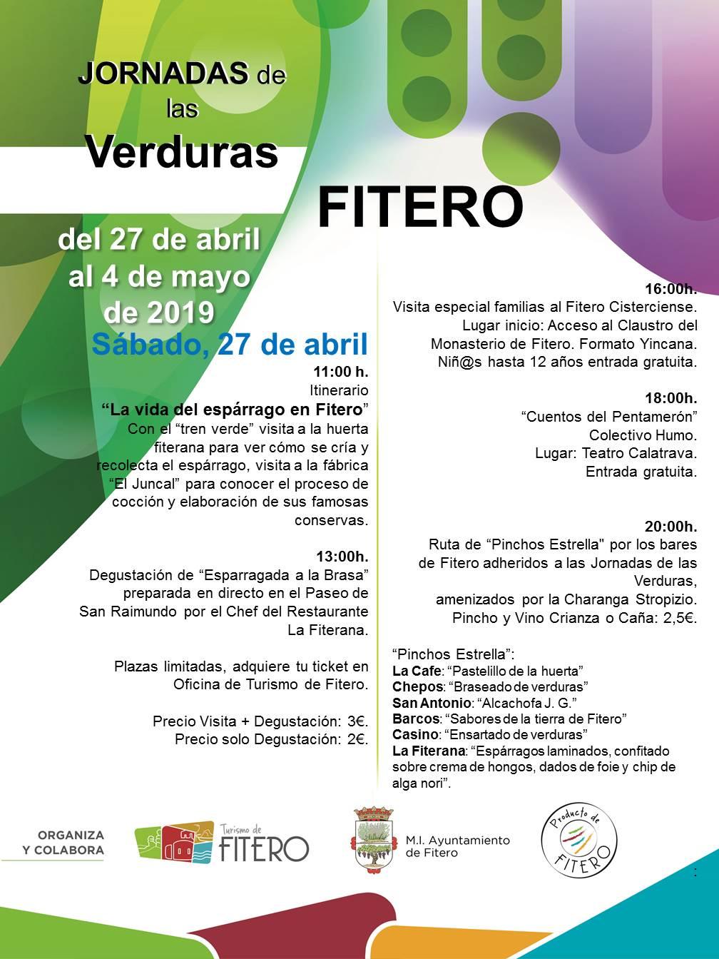 Jornadas de las Verduras en Fitero, cartel de actos organizados para el 27 de abril