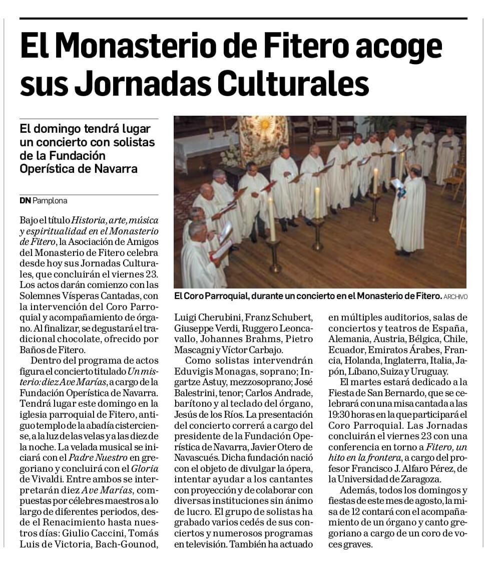 El Monasterio de Fitero acoge sus jornadas culturales