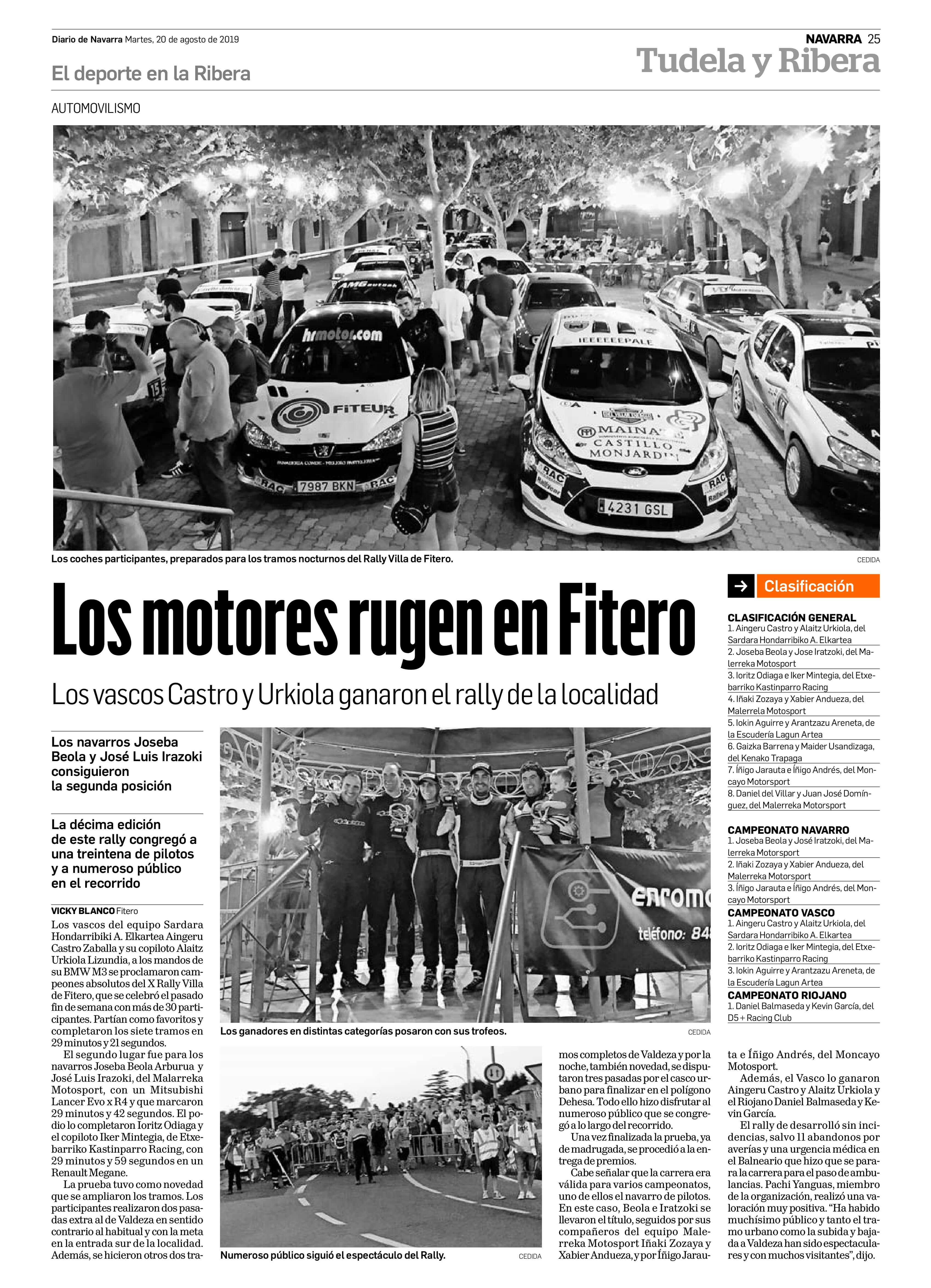 Los motores rugen en Fitero