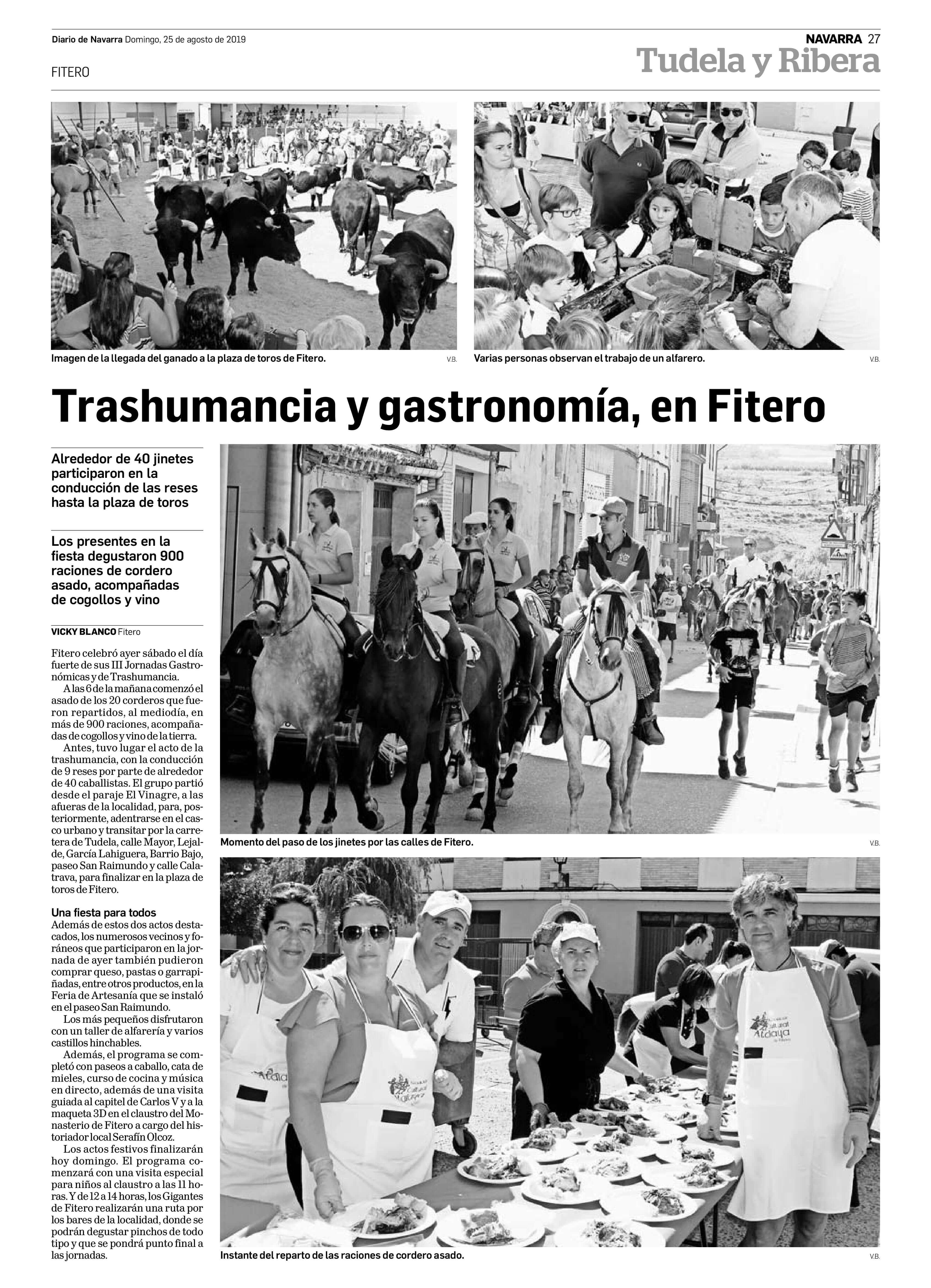 Trashumancia y gastronomía, en Fitero