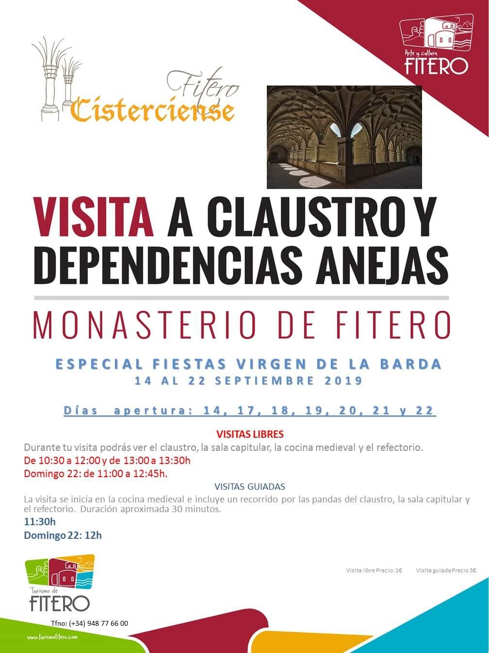 Horarios de visita al Claustro y Sala Capitular del Monasterio de Fitero durante las fiestas patronales (14 al 22 septiembre)