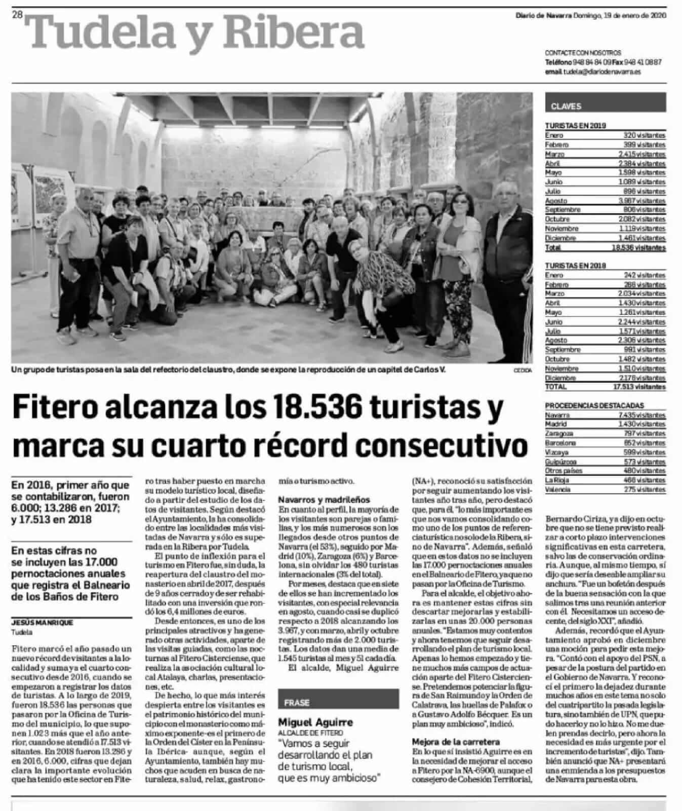 Fitero alcanza los 18.536 turistas y marca su cuarto récord consecutivo