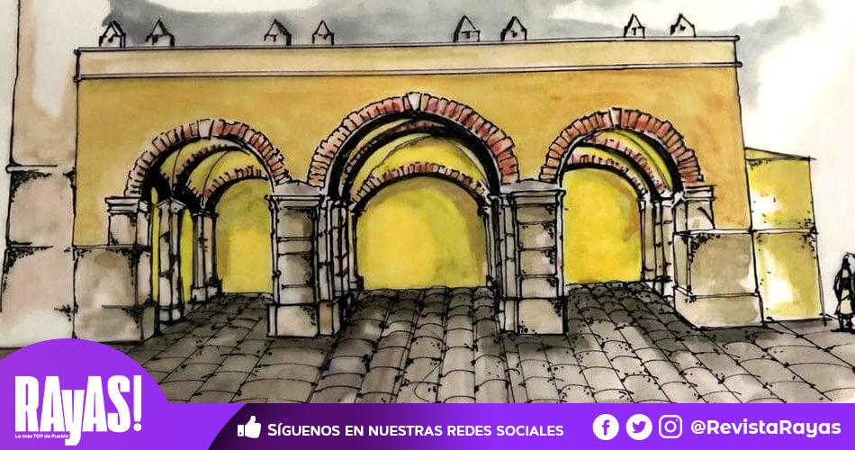 Este dibujo nos enseña cómo se veía la Catedral poblana en sus primeros años